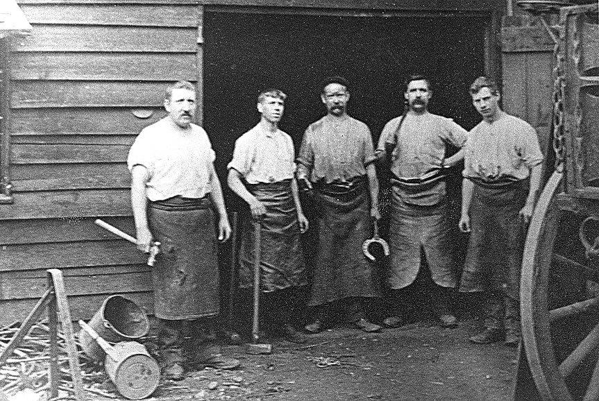 The Gibbs blacksmith team around 1900