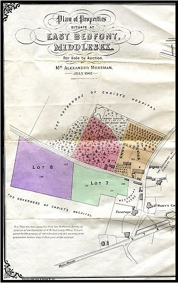 The original sale documents for the land bought at auction on 7th July 1907.