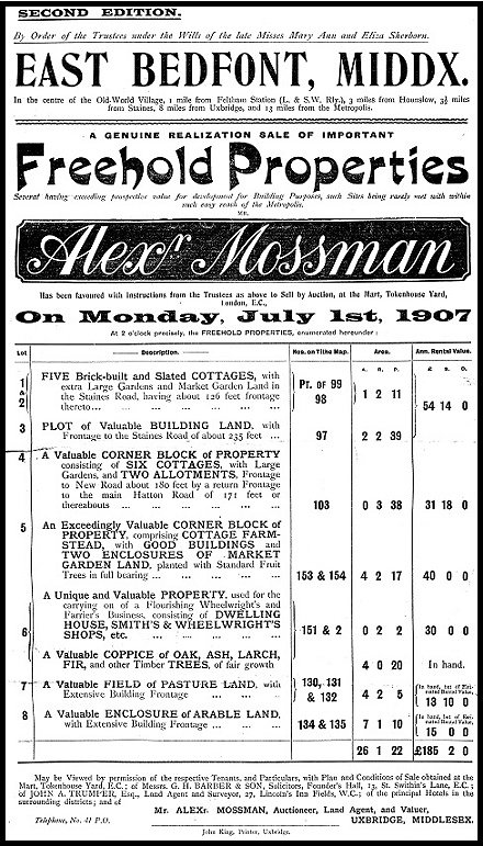 The original advertisment for the sale of the lots purchased by Herbert Gibbs in 1907.