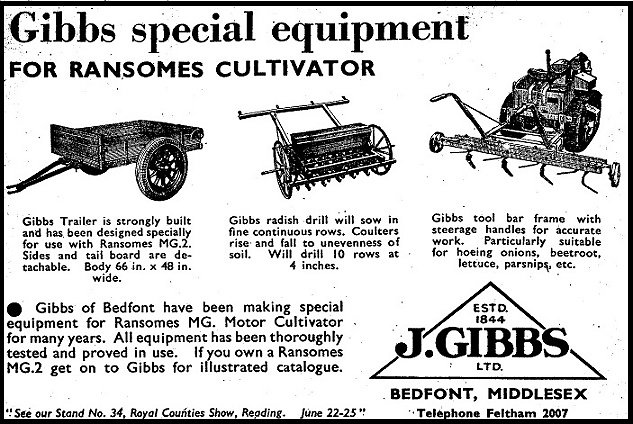 An advertisment for Gibbs horticultural  equipment from 1949.