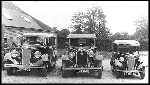 Three Austin cars pictures in the 1930's.