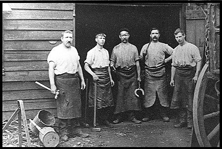 The Gibbs blacksmith team around 1900