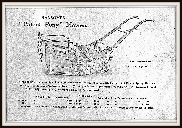 A Ransomes horse mower with sliding grass box of 1913, which were supplied by Gibbs.