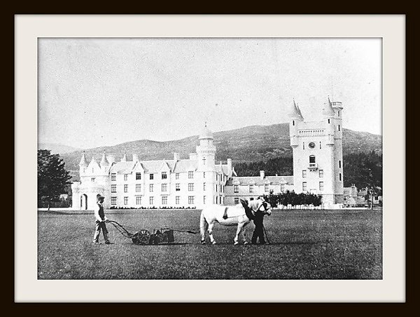 The  Ransomes Pony  mower in action at Balmoral Castle.