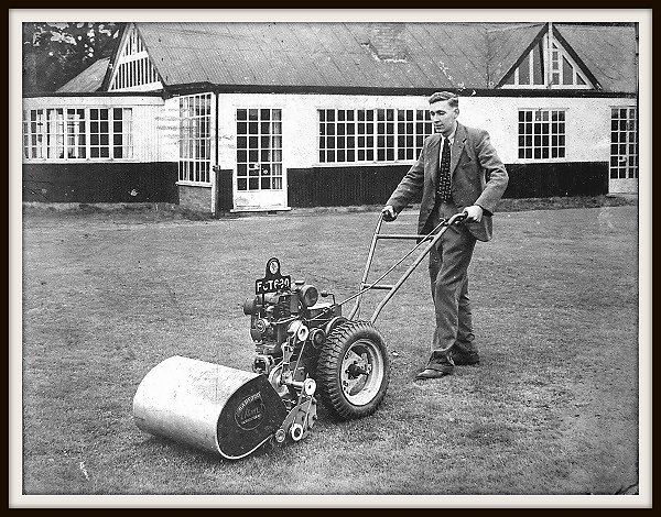 The Barfords Atom mowing a sports ground.