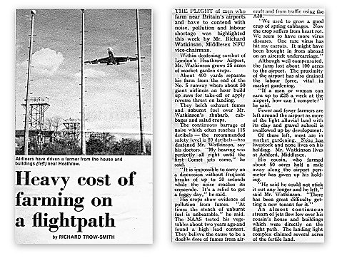Newspaper cutting about the cost of Heathrow Airport esxpansion to local farmers.