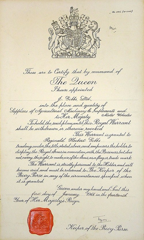 Royal Warrant of 1966.